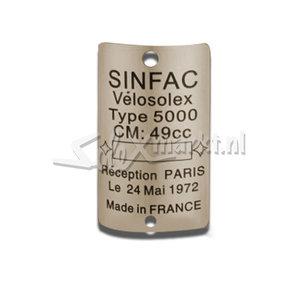 Nameplate VeloSolex 5000 - Metal